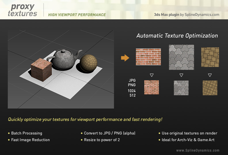Proxy Textures 3dsmax plugin by SplineDynamics.com