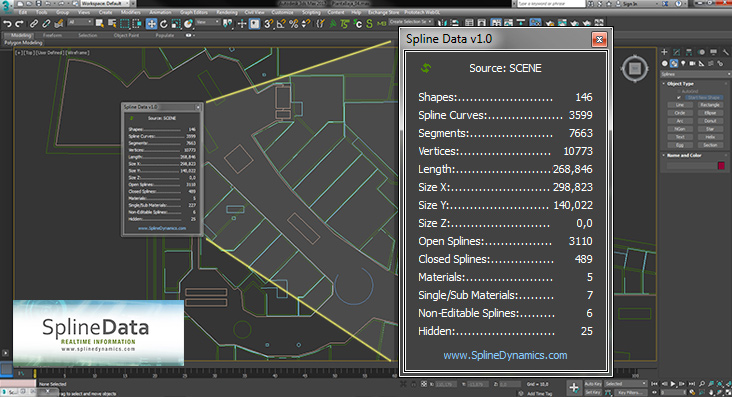 Spline Data 3dsmax script by SplineDynamics.com